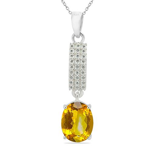 CITRINE PENDANT WITH WHITE ZIRCON #VP010379