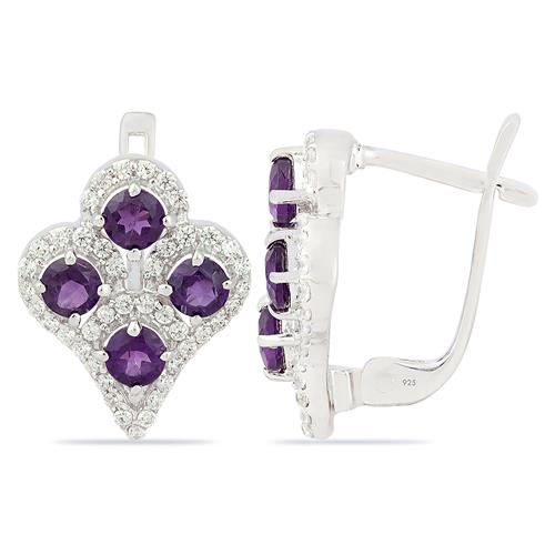 AMETHYST EARRING WITH ZIRCON