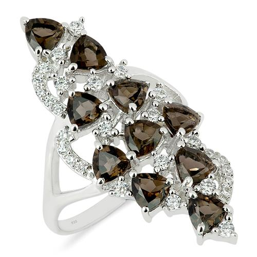SMOKY RING WITH WHITE ZIRCON #VR014016