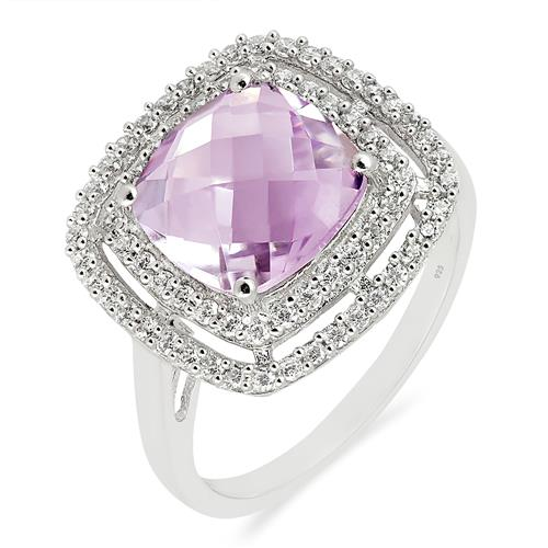 PINK AMETHYST RING WITH ZIRCON