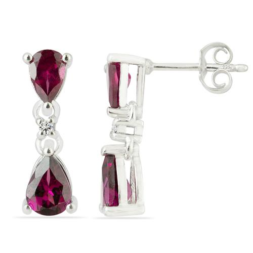 RHODOLITE EARRING WITH ZIRCON