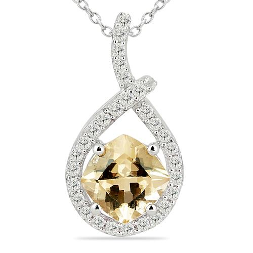 LEMON TOPAZ PENDANT WITH ZIRCON #VP017014