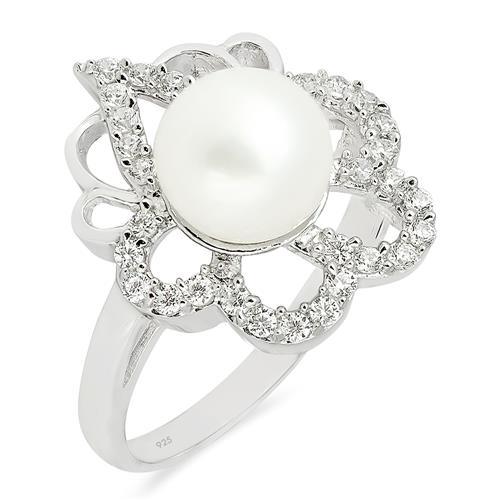 WHITE FRESHWATER PEARL RING WITH ZIRCON #VR09911