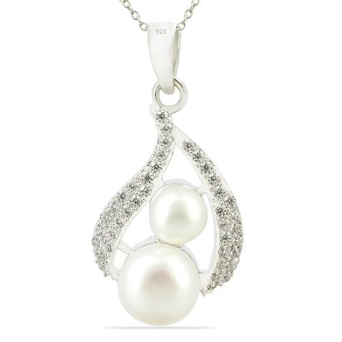 WHITE FRESHWATER PEARL PENDANT WITH ZIRCON