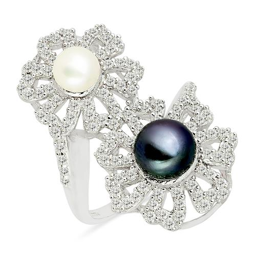 BLACK AND WHITE PEARL RING WITH ZIRCON #VR09978
