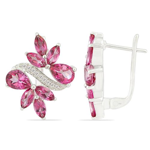 PINK TOPAZ EARRING WITH ZIRCON