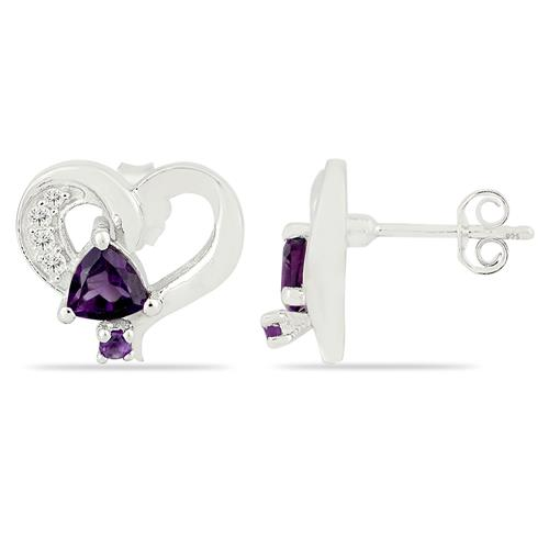 AMETHYST EARRING WITH WHITE ZIRCON #VE012543