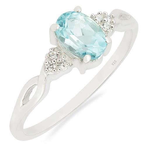SKY BLUE TOPAZ RING WITH ZIRCON