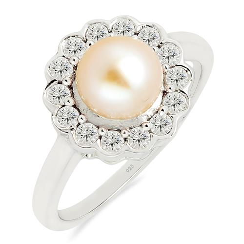 PEACH PEARL RING WITH ZIRCON #VR014557