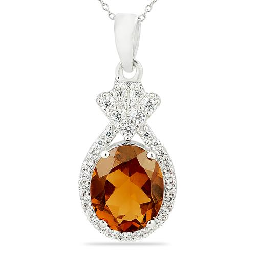 WHISKY QUARTZ PENDANT WITH ZIRCON