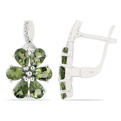 MOLDAVITE EARRING WITH ZIRCON