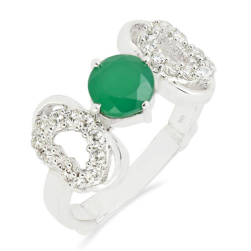 GREEN ONYX  RING WITH ZIRCON