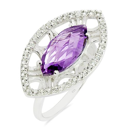 AMETHYST RING WITH ZIRCON #VR015067