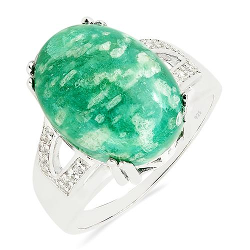 AMAZONITE RING WITH ZIRCON