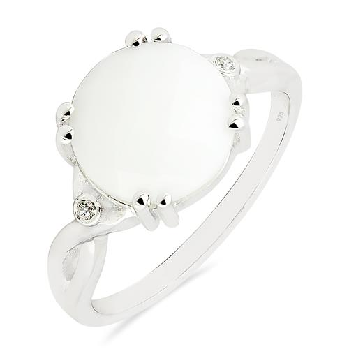 WHITE ONYX RING WITH ZIRCON