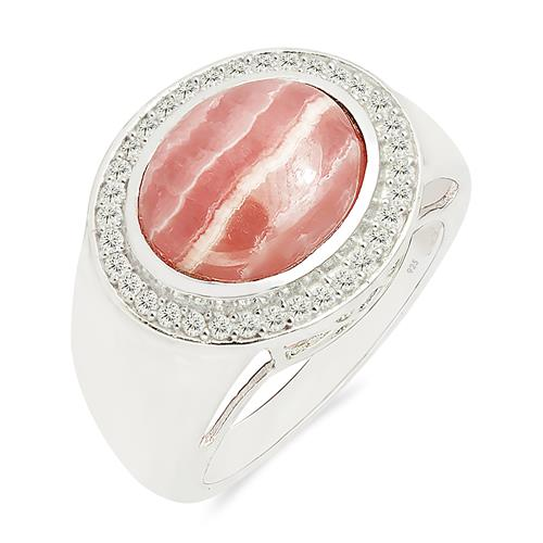 RHODOCHROSITE RING WITH ZIRCON