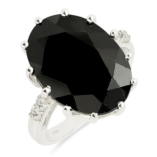 BLACK ONYX RING WITH ZIRCON