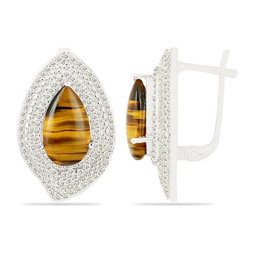 TIGER EYE EARRING WITH ZIRCON