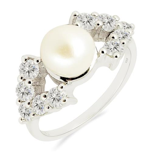 WHITE PEARL RING WITH ZIRCON #VR017151