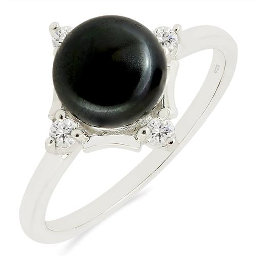 BLACK PEARL RING WITH ZIRCON #VR017141