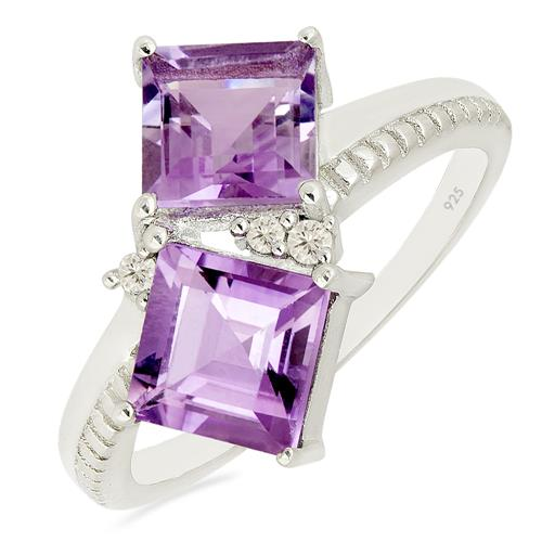 PINK AMETHYST RING WITH ZIRCON #VR014897