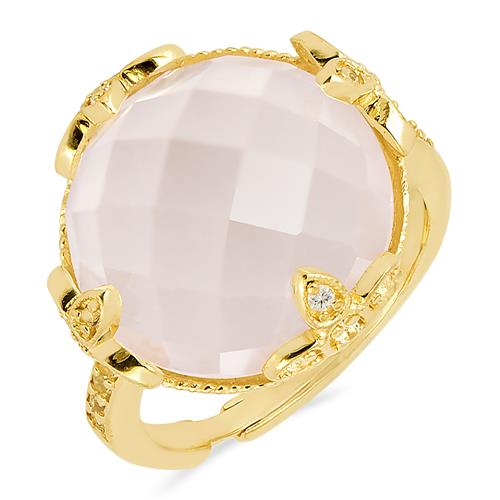 ROSE QUARTZ ADDJUSTABLE RING WITH ZIRCON