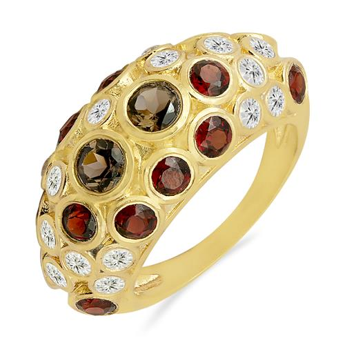 SMOKY AND GARNET RING WITH ZIRCON