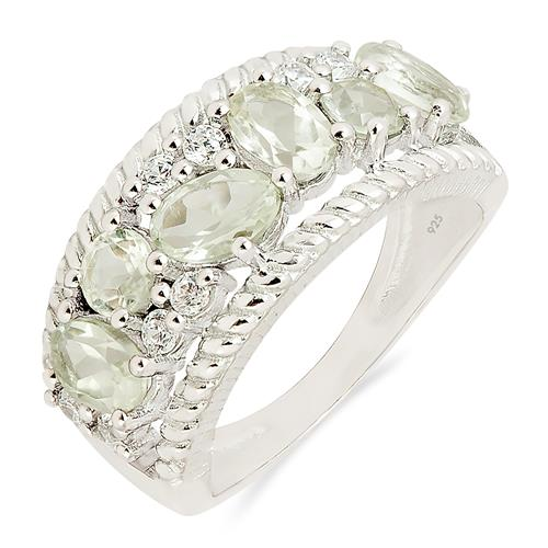 GREEN AMETHYST RING WITH ZIRCON #VR010913