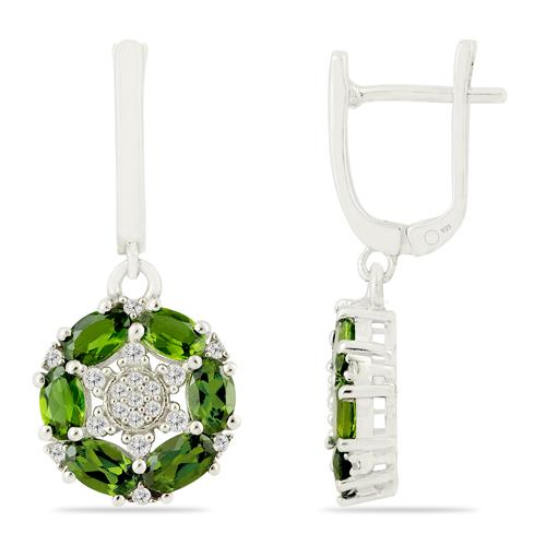 CHROME DIOPSITE EARRING WITH ZIRCON