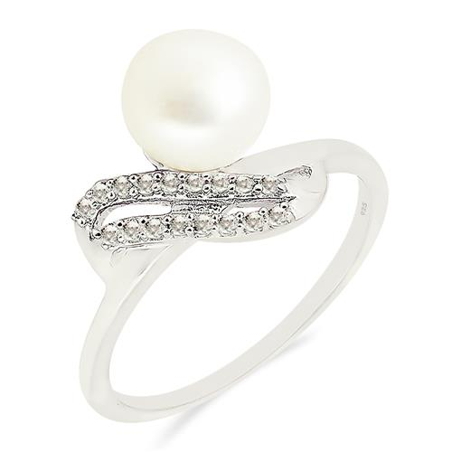 WHITE PEARL RING WITH ZIRCON #VR017135