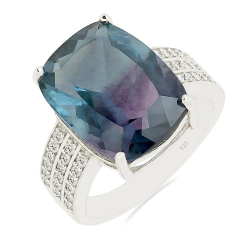 FLUORITE RING WITH ZIRCON