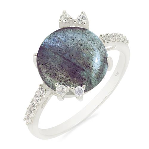 LABRADORITE RING WITH ZIRCON