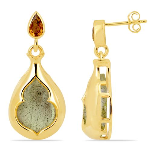 LABRADORITE AND CITRINE EARRING