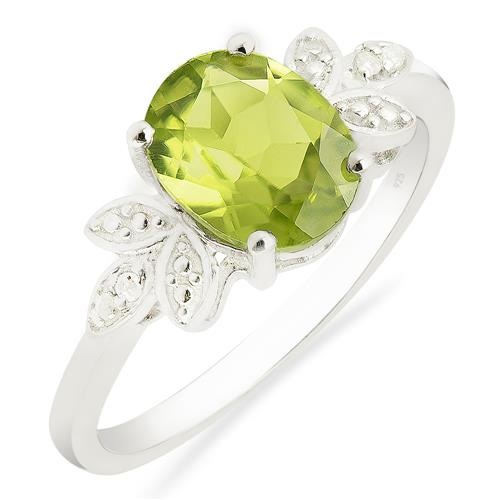 PERIDOT STONE RING WITH ZIRCON