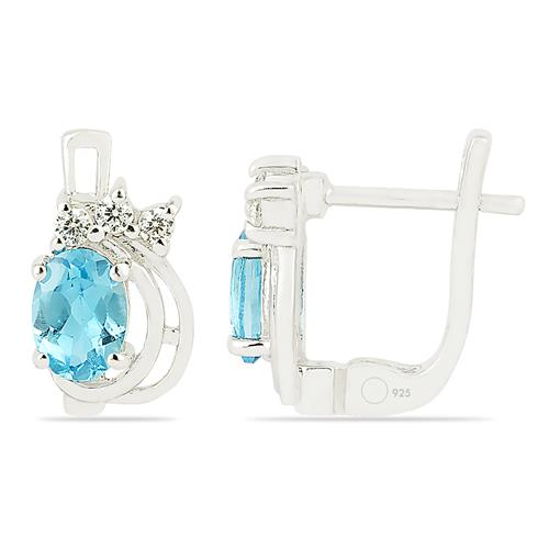 SKY BLUE TOPAZ EARRING WITH ZIRCON