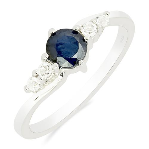 BLUE SAPPHIRE RING WITH WHITE ZIRCON #VR011580
