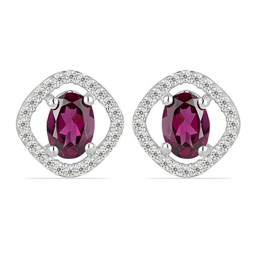 RHODOLITE SILVER EARRING WITH WHITE ZIRCON #VE010888