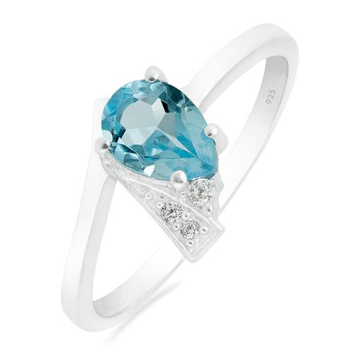 SKY BLUE RING WITH WHITE ZIRCON #VR015093