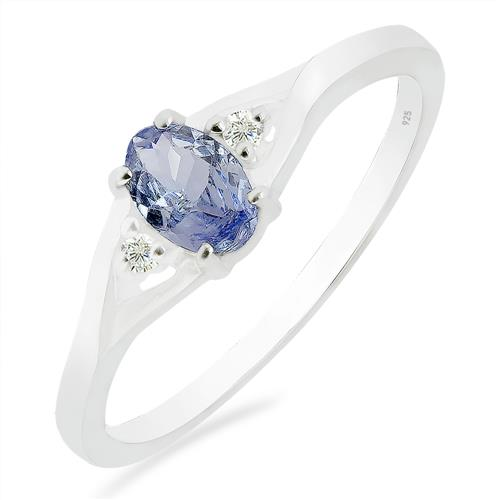 TANZANITE RING WITH ZIRCON