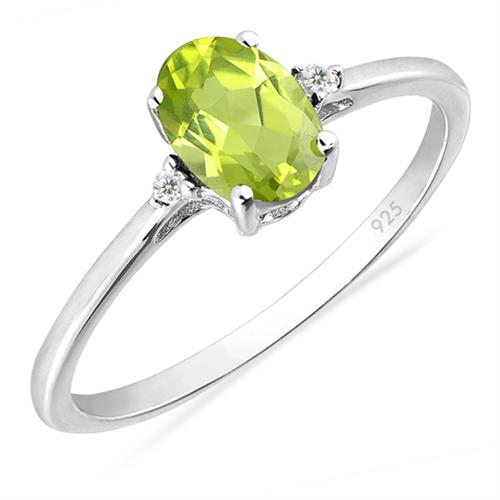 PERIDOT SILVER RING WITH WHITE ZIRCON ZIRCON #VR015208