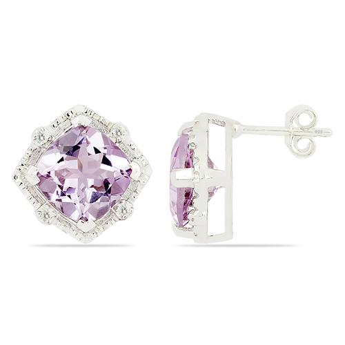 PINK AMETHYST EARRING WITH ZIRCON #VE015903