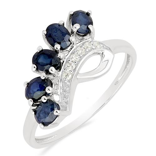 BLUE SAPPHIRE RING WITH ZIRCON