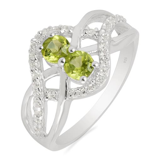 PERIDOT RING WITH WHITE ZIRCON #VR013424