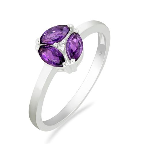 AMETHYST RING WITH ZIRCON