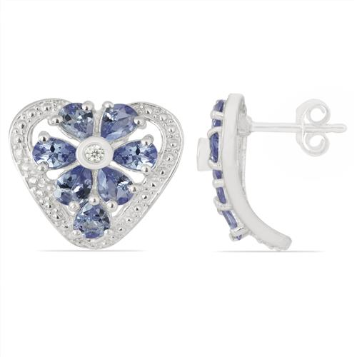 TANZANITE EARRING WITH ZIRCON