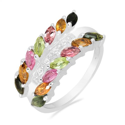 MULTI TOURMALINE RING WITH ZIRCON