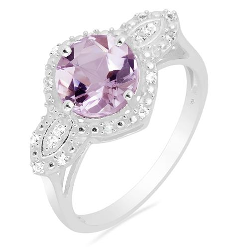PINK AMETHYST RING WITH ZIRCON #VR015847