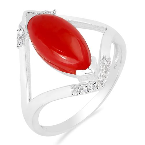 COMPRESSED RED CORAL RING WITH ZIRCON