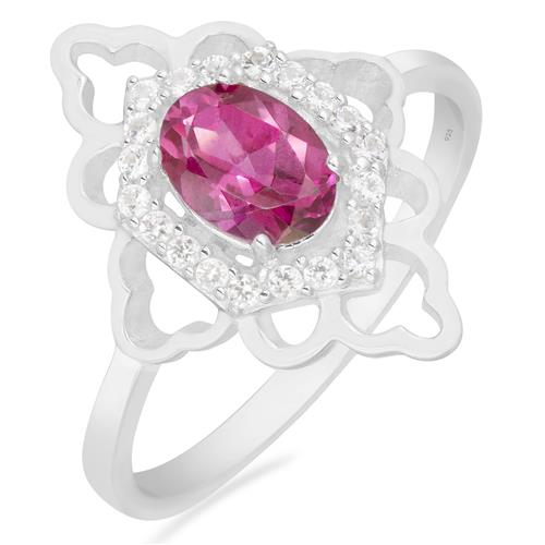PINK TOPAZ RING WITH WHITE ZIRCON