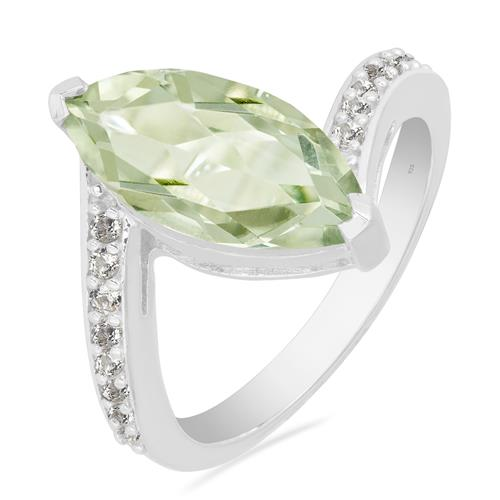 GREEN AMETHYST RING WITH ZIRCON
